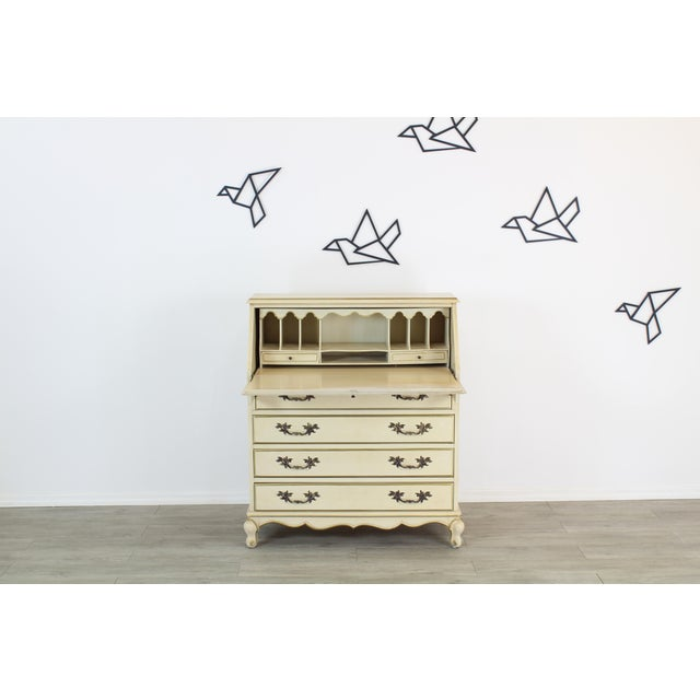 Lovely cream secretary desk with gold painted accents this desk is great vintage condition See pictures for details...