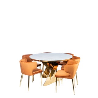 Waterfall Marble Top Dining Table & Velvet Dining Set- 7 Pieces For Sale