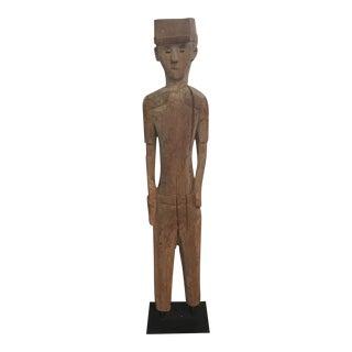 Vintage Solid Wood Soldier Statue
