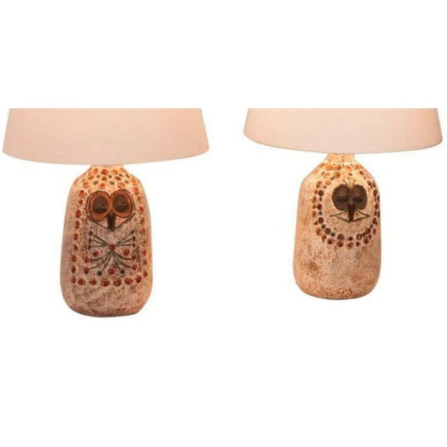 Pair of Mr. and Mrs. Owl Lamps by Raphael Giarusso Signed and Stamped, 1967 - Image 3 of 4