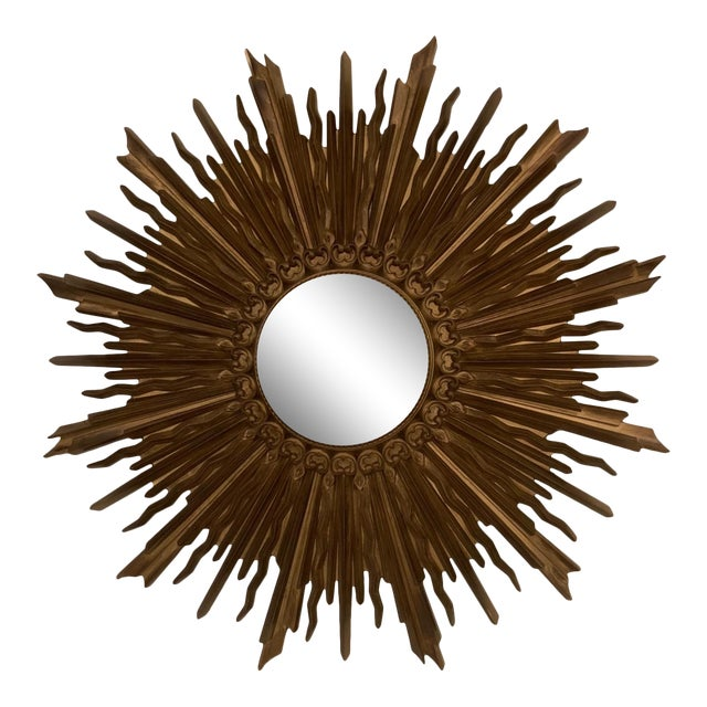 Vintage Gilded Syrocowood Convex Mirror For Sale