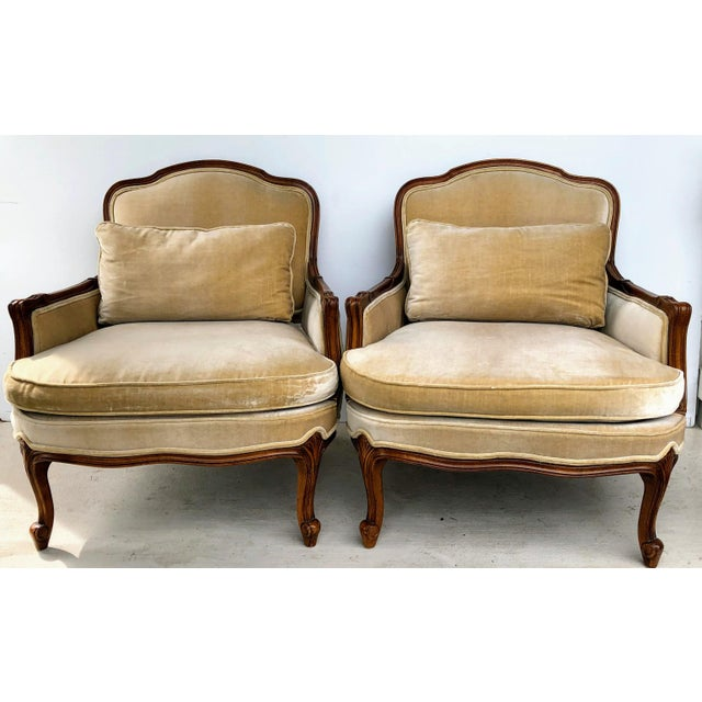 Weiman Queen Anne Bergere Arm Chairs in Wheat Velvet- A Pair For Sale - Image 13 of 13