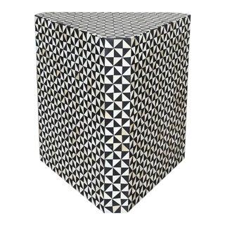 Modern Geometric Bone Inlay Side Table/ Nightstand For Sale