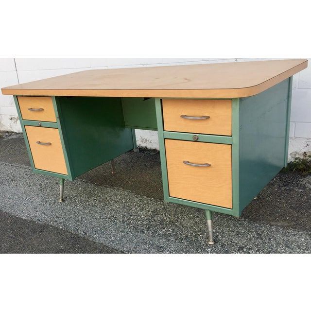 Rare 50 S Classic Metal Framed Desk With Contrasting Laminate Top And Matching Drawer Fronts Empire Vintage Steelcase