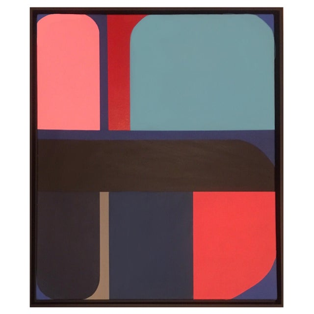 Abstract Brooks Burns Framed Original Abstract Geometric Paintings - a Pair For Sale - Image 3 of 5