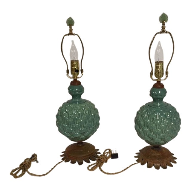Jade Green Side Table Lamps - a Pair For Sale