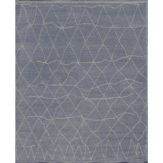Mansour Modern Handwoven Wool Moroccan Inspired Rug For Sale