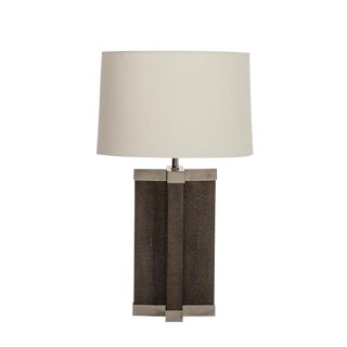 Black Shagreen Lamp With Grey Shade For Sale