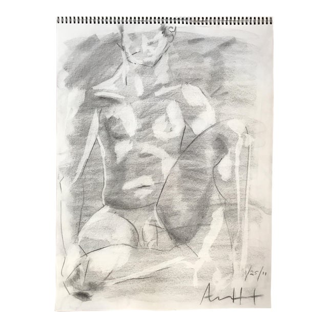 Seated Male Nude Drawing - Image 1 of 4