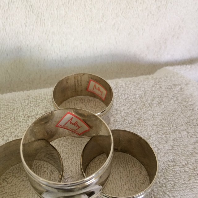 Metal Two Sets of Aukey Silver Plated Napkin Rings - Group of 9 For Sale - Image 7 of 12
