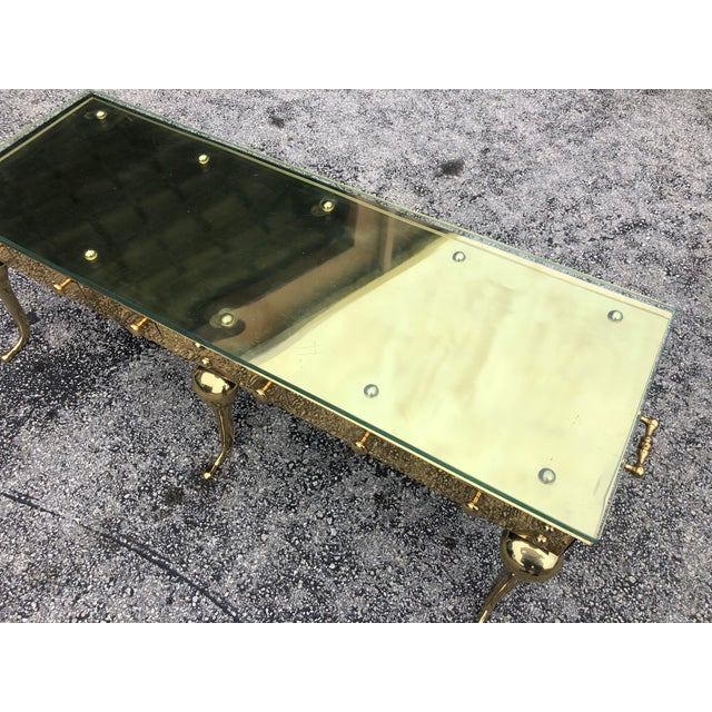 Hollywood Regency Hollywood Regency Brass and Glass Coffee Table For Sale - Image 3 of 5