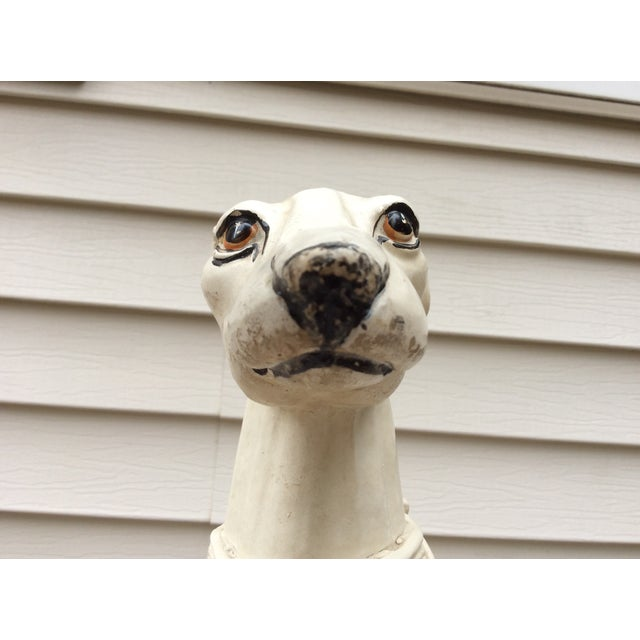 Eggshell 1970s Mid-Century Italian Pottery Greyhound For Sale - Image 8 of 13