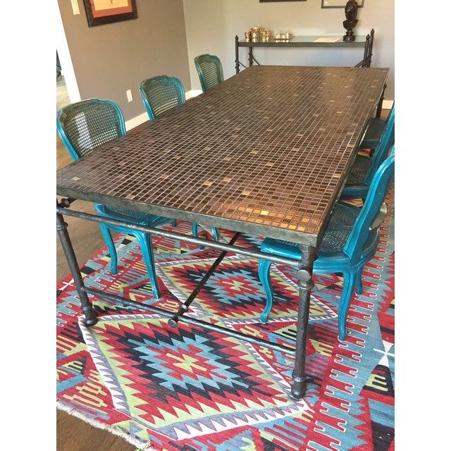 Iron & Mosaic Dining Set - Table & 6 Chairs - Image 3 of 8