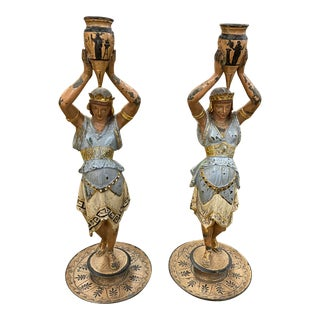 Pair of 19th Century Candlesticks Roman Couple For Sale