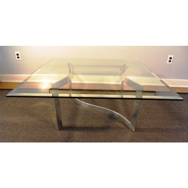 Milo Baughman Style Glass and Chrome Table - Image 3 of 9