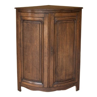 19th Century Rustic Country French Demilune Corner Cabinet For Sale