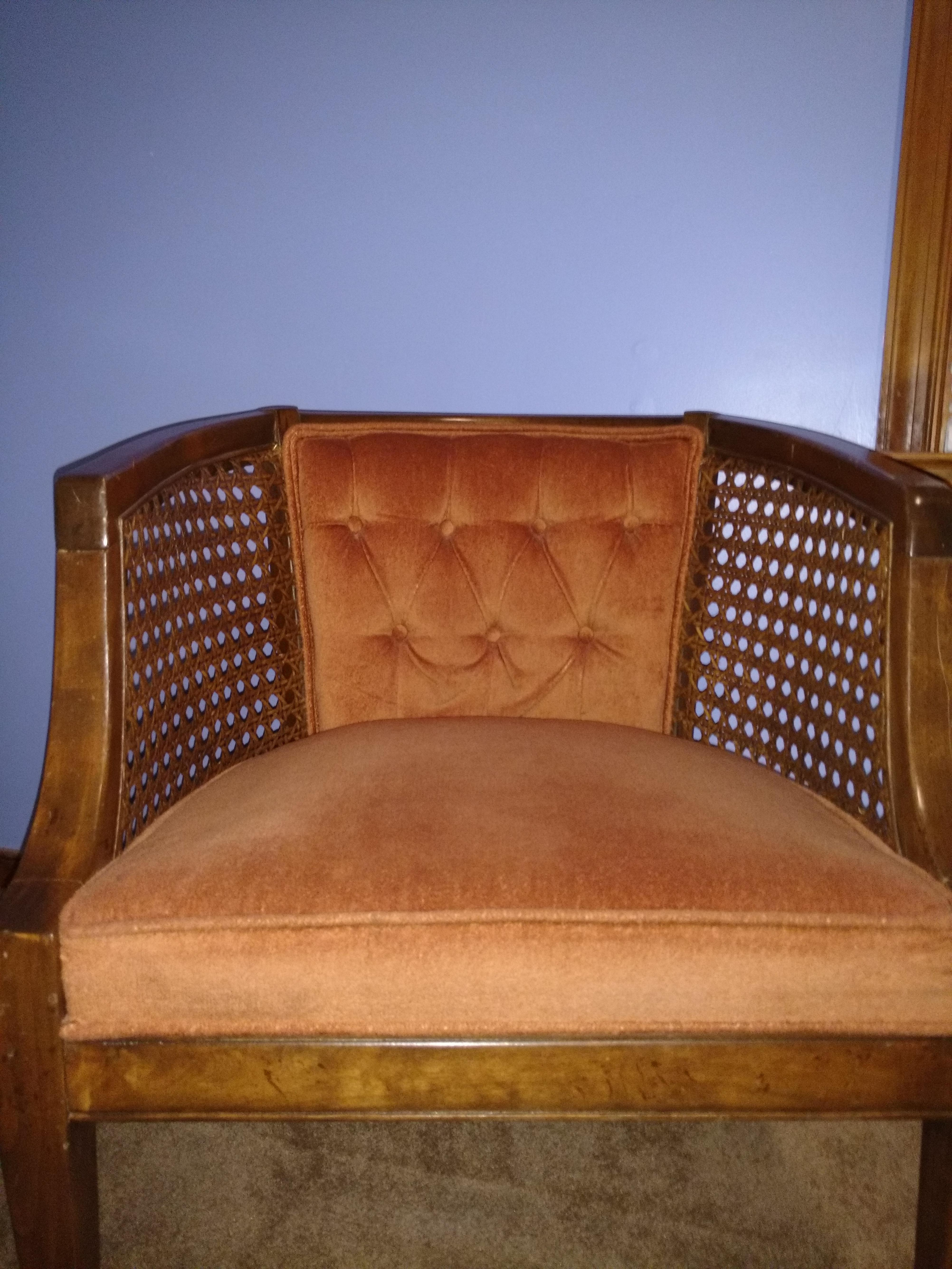 Superior Vintage Mid Century Modern Barrelback Cane Chair   Image 3 Of 9