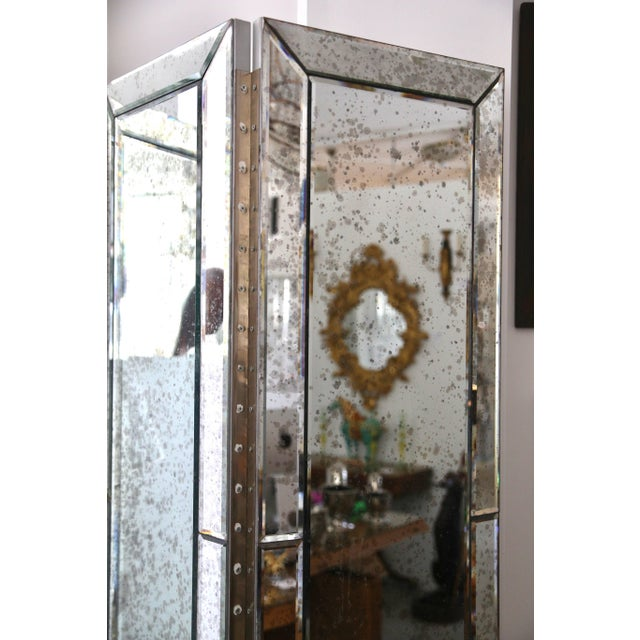 Three-Panel Smoked Mirror Folding Screen For Sale - Image 4 of 12