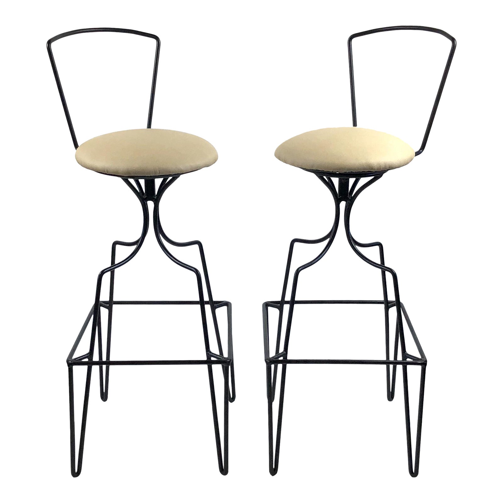Groovy Mid Century Wrought Iron Swivel Bar Stools A Pair Customarchery Wood Chair Design Ideas Customarcherynet