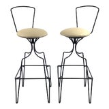 Image of Mid Century Wrought Iron Swivel Bar Stools - a Pair For Sale