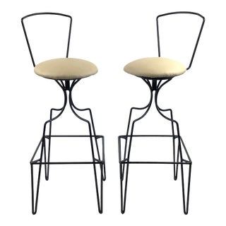 Mid Century Wrought Iron Swivel Bar Stools - a Pair