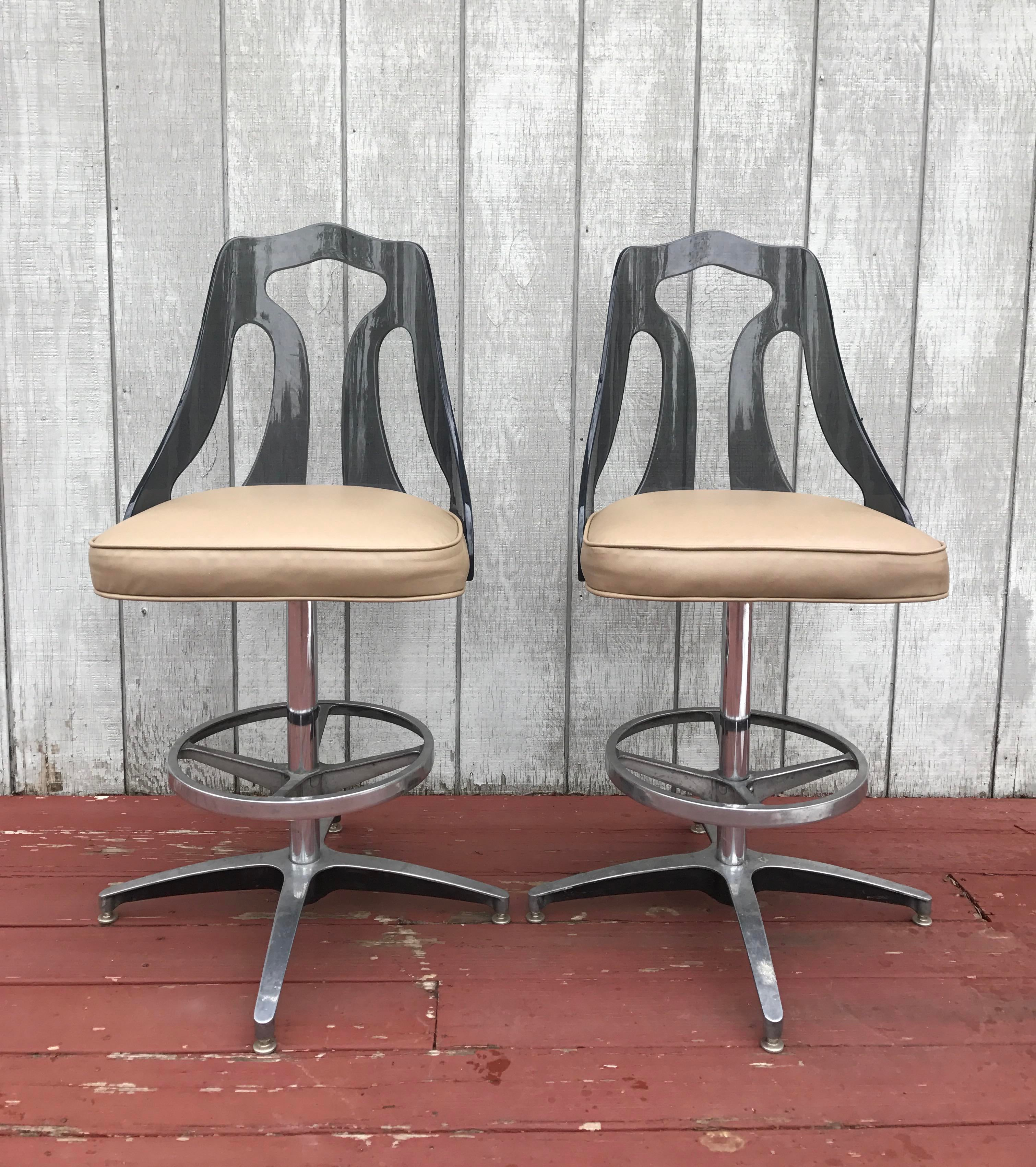 Mid Century Vintage Smoked Lucite Swivel Barstool   A Pair   Image 2 Of 6