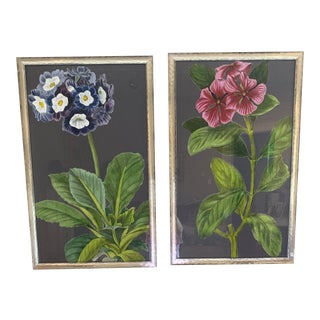 Midnight Garden Floral Botanical Prints - Framed 20x32 - a Pair For Sale