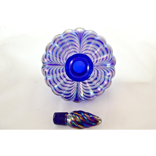 Iridescent Pulled Feather Cobalt Perfume Bottle For Sale - Image 4 of 5