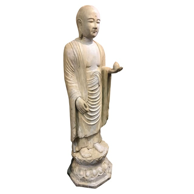 19th Century 19th Century Hardwood and Polychrome Standing Buddhist Figure For Sale - Image 5 of 5
