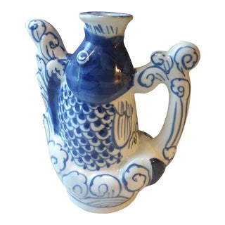 Vintage Chinese Blue Koi Fish Porcelain Teapot For Sale