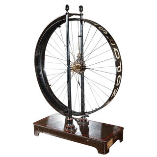 1880s French Painted Metal Spoked Wheel on Stand For Sale