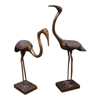 A Pair of Chinese Bronze Cranes For Sale