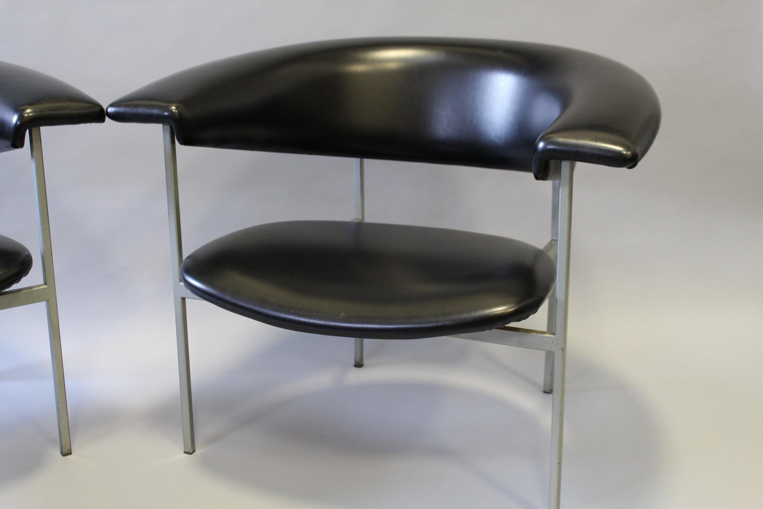 Rudolf Wolf Fauteuil Original Black Vinyl Chairs A Pair