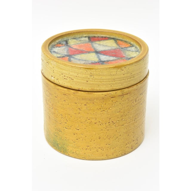 Boho Chic Bitossi Glazed Ceramic Box With Fused Glass Mosaic Top For Sale - Image 3 of 9