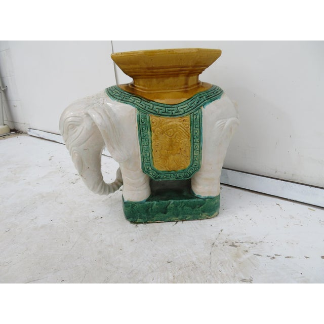 Asian Elephant Pottery Garden Stool For Sale - Image 3 of 4