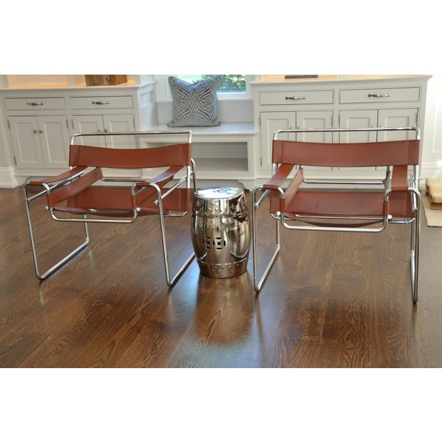 Reproduction Mid-Century Wassily Leather & Chrome Chairs - Pair - Image 2 of 9