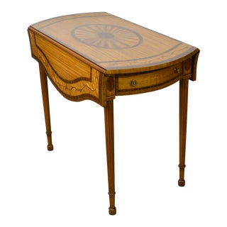 Maitland Smith Satin Wood Marquetry Inlaid Pembroke Table For Sale