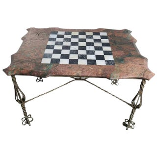 Iron & Marble Chess Board Top Table For Sale