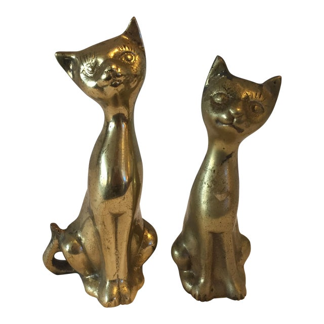 Siamese Brass Cats - A Pair - Image 1 of 5