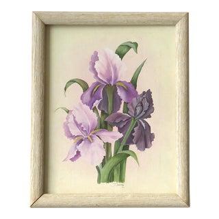 "1980s Vintage ""Purple Irises"" Painting by Donna E. For Sale"