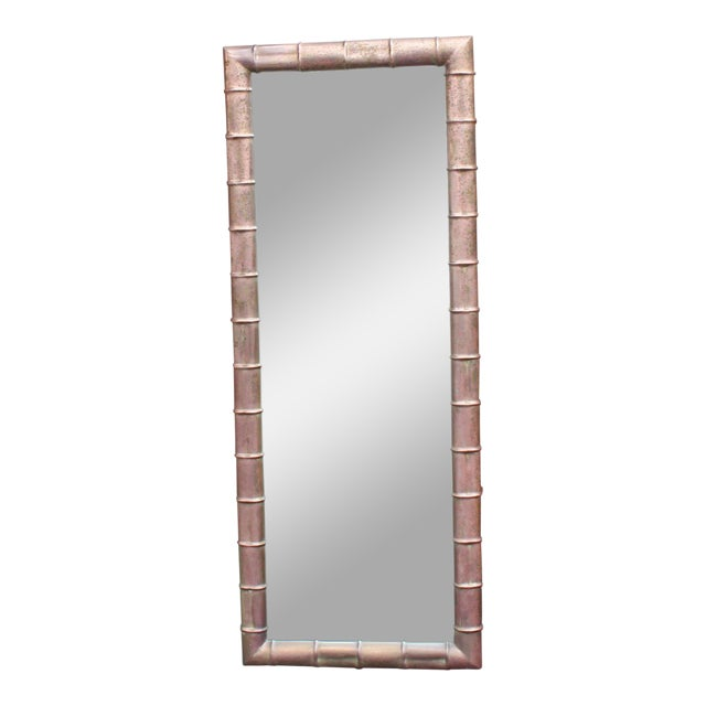 Mid-Century Modern Faux Bamboo Weathered Copper Rectangular Mirror For Sale - Image 10 of 10