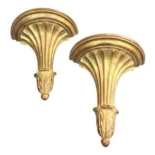 1960s Hollywood Regency Gold Florentine Sconces - a Pair For Sale