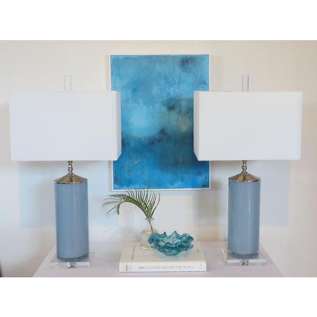Blue Custom Made Glass Column Lamps in Silver Fox Blue by C. Damien Fox 2018. For Sale - Image 8 of 10