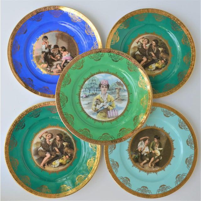 Antique Josef Kuba Jkw Bavaria Porcelain Plates - Set of 5 For Sale - Image 10 of 11