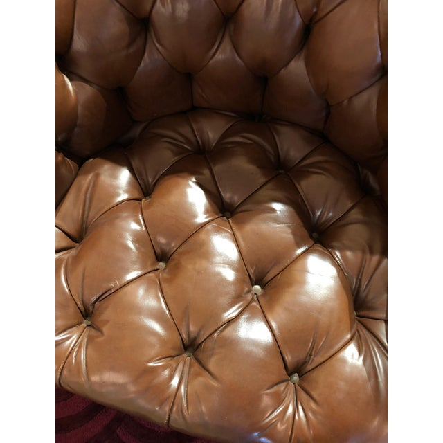 1970s 1970s Mid-Century Modern Tufted Leather Swivel Club Chairs - a Pair For Sale - Image 5 of 11