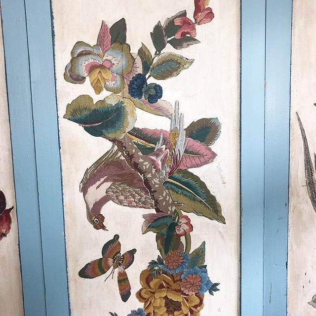 Asian Vintage 4 Panel Chinoiserie Bird and Flower Motif Blue Divider Screen For Sale - Image 3 of 9
