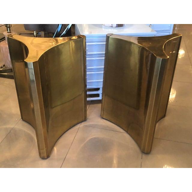 Vintage Brass Pedestal Mastercraft Dining Table or Desk Base -A Pair For Sale - Image 11 of 12