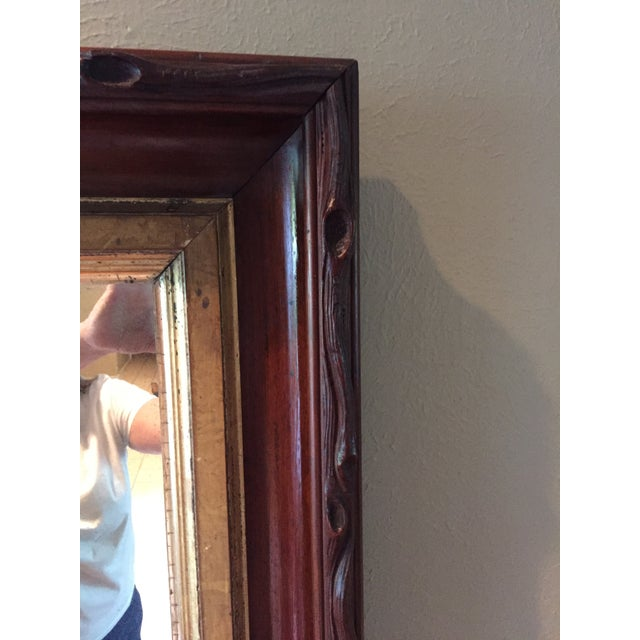 Glass Rustic 1870's Faux Bois Folk Art Antique Mirror For Sale - Image 7 of 9