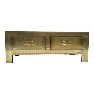 1970s Brass Clad Chest Attr. To Sarreid For Sale