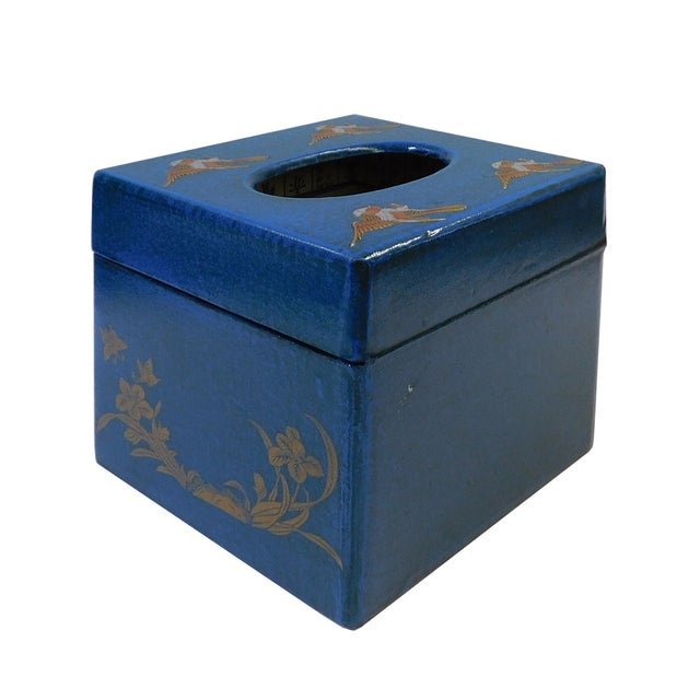Chinese Blue Container or Tissue Box - Image 4 of 5